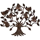 NOVICA Artisan Crafted Large Cutout Iron Outdoor Wall Decor, Brown, 'Butterfly Tree'