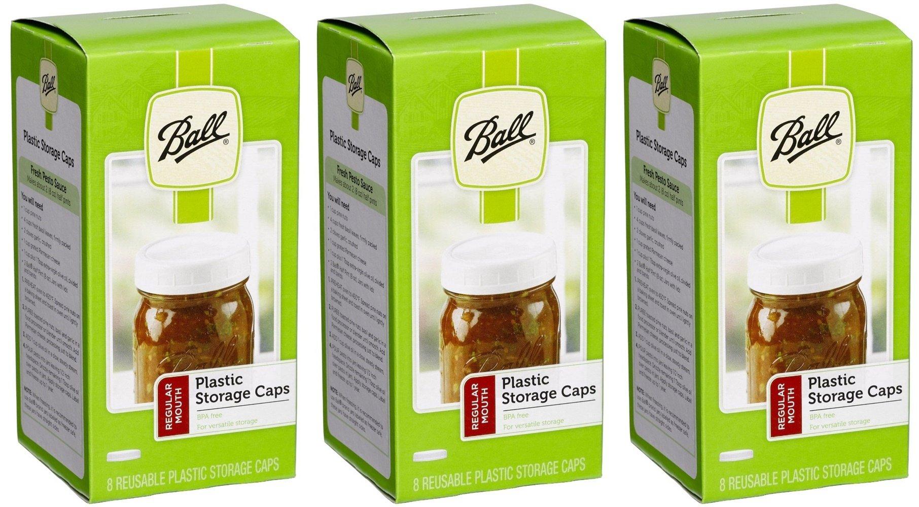 24 Ball Regular Mouth Jar Storage Caps (3-Pack of 8)