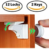 Baby Proof Magnetic Cabinet Door & Drawer Safety Locks - 12 Latches & 2 Keys - No Drilling, Easy to Install - Ideal for Child Proofing Your Kitchen - Safe Adhesive & Magnet Locking System by BabyTrust