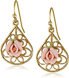 product image for 1928 Jewelry Gold-Tone and Pink Porcelain Rose Drop Earrings