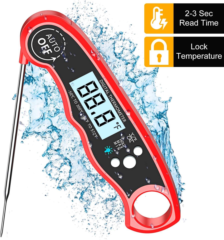 Cocoda Termometro Digital de Cocina, Termómetro Carne de Lectura Instantánea de 2S con 4.7'' Sonda Larga, Pantalla LCD Retroiluminada, IPX6 Impermeable, Termometro Horno para BBQ, Comida, Caramelo