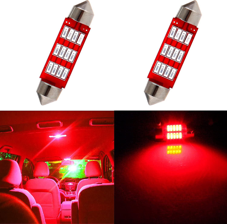 cciyu 211 212-2 214-2 211-2 214-2 6411 560 569 578 Festoon 6-SMD 2x 42MM Ice Blue Festoon LED Bulbs for Dome Light Map Light License Plate Cargo Light