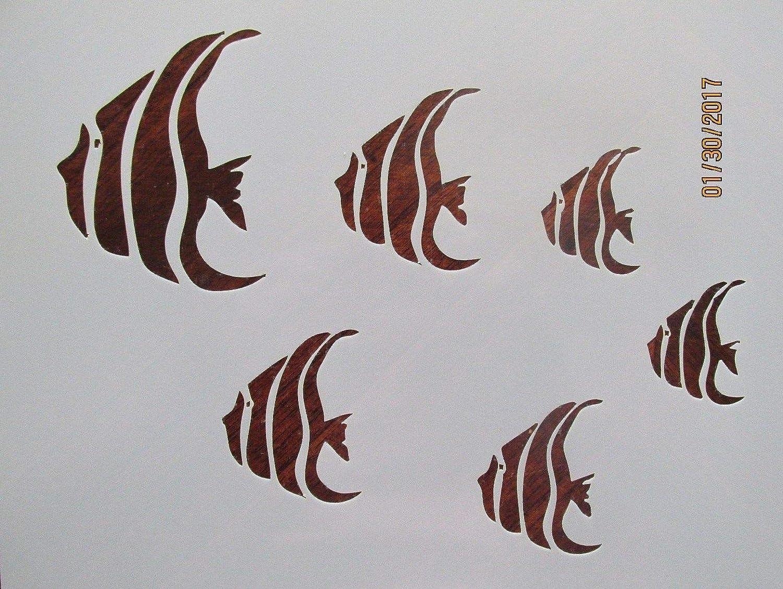 OutletBestSelling 再利用可能 頑丈 天使 魚 ステンシル 再利用可能 10ミル ステンシル   B07H3B2L8Y