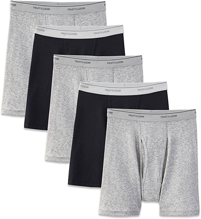 Fruit of the Loom 3 Mens Boxer Briefs Black//Gray