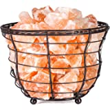 """HemingWeigh Himalayan Salt Chip Lamp In Metal Basket Bowl 8x7.15"""" Electric Wire and Bulb Included"""