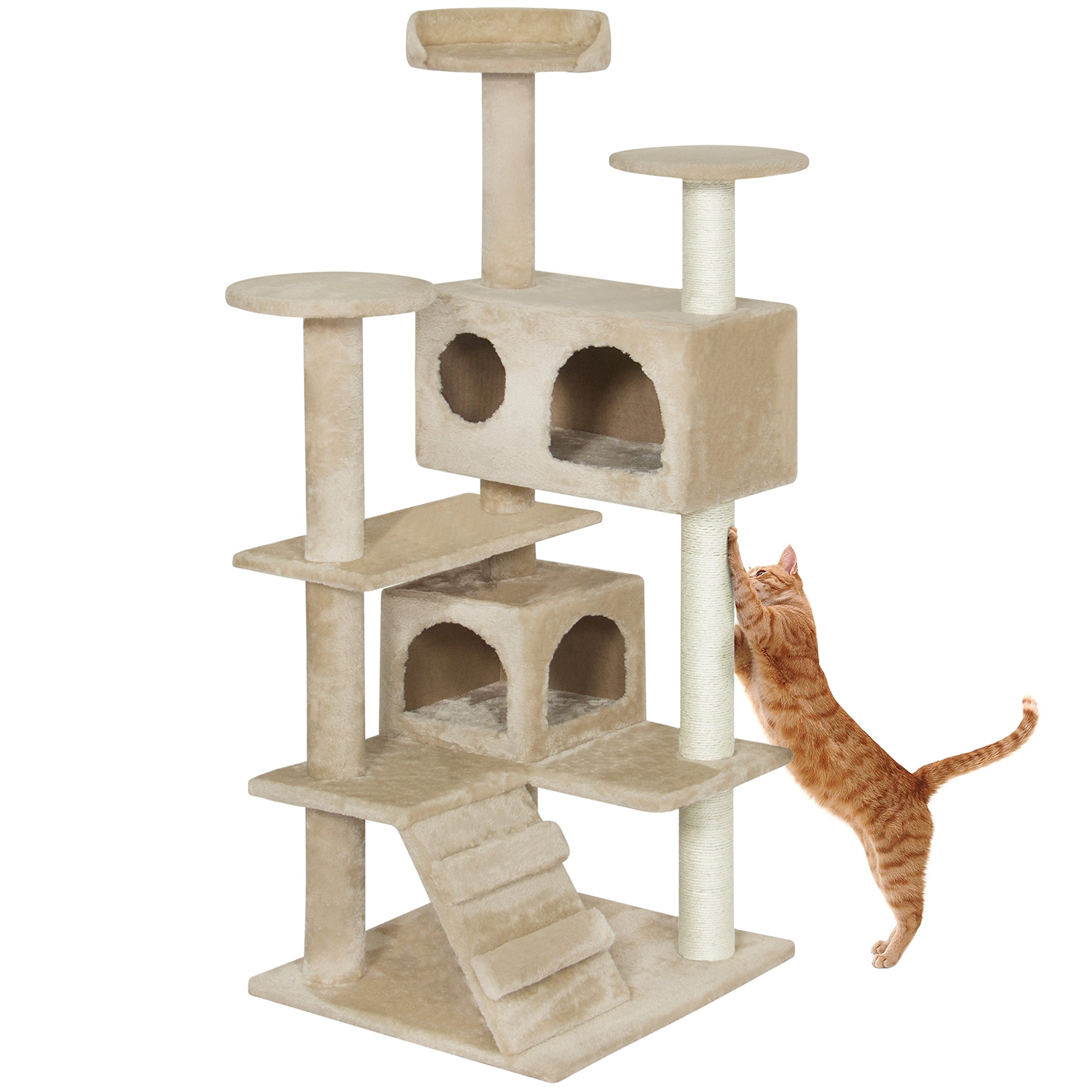 Best Choice Products 53'' Multi-Level Cat Tree Scratcher Condo Tower- Beige