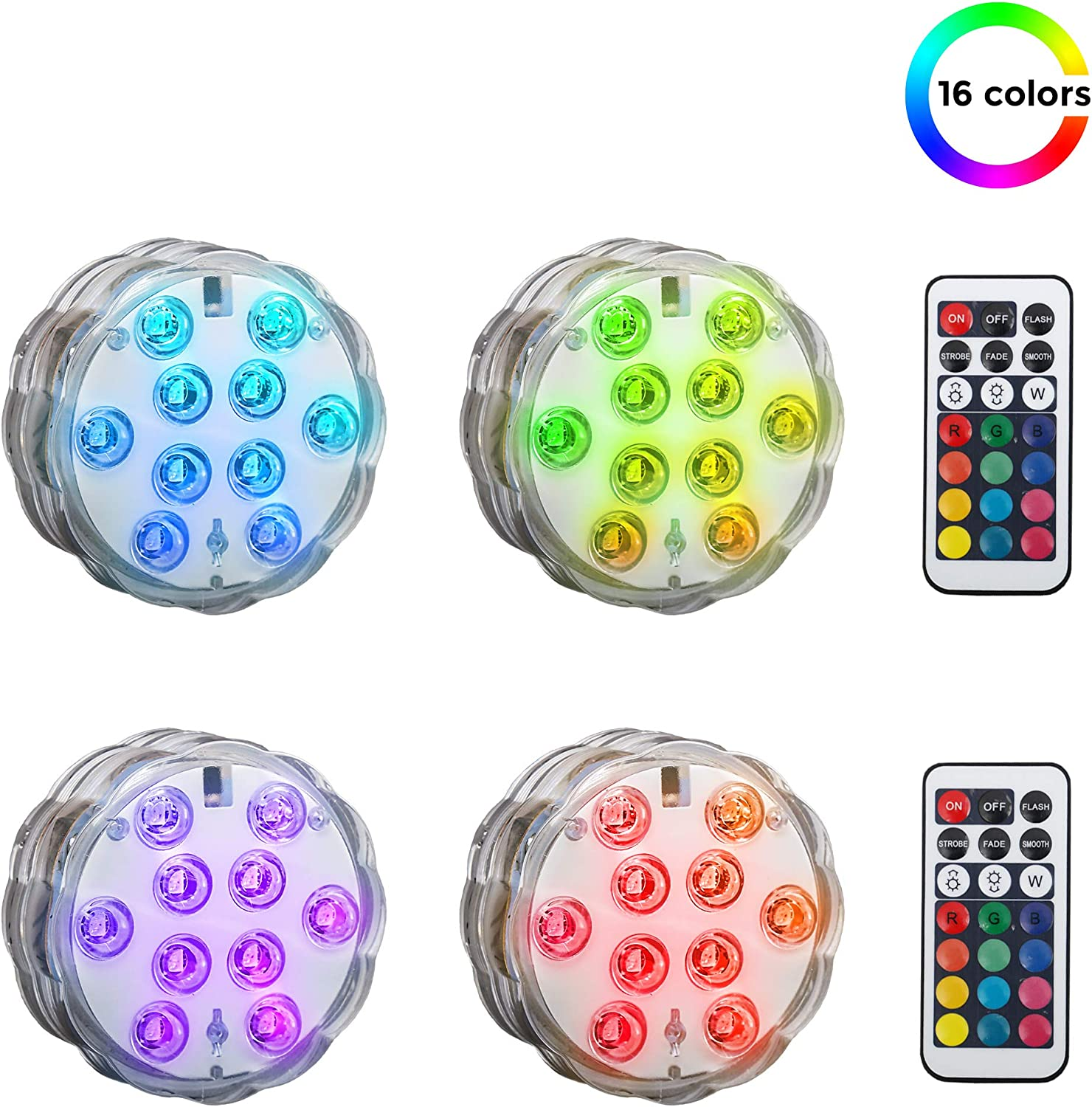 4 Pack LED Luces Sumergibles con mando a distancia