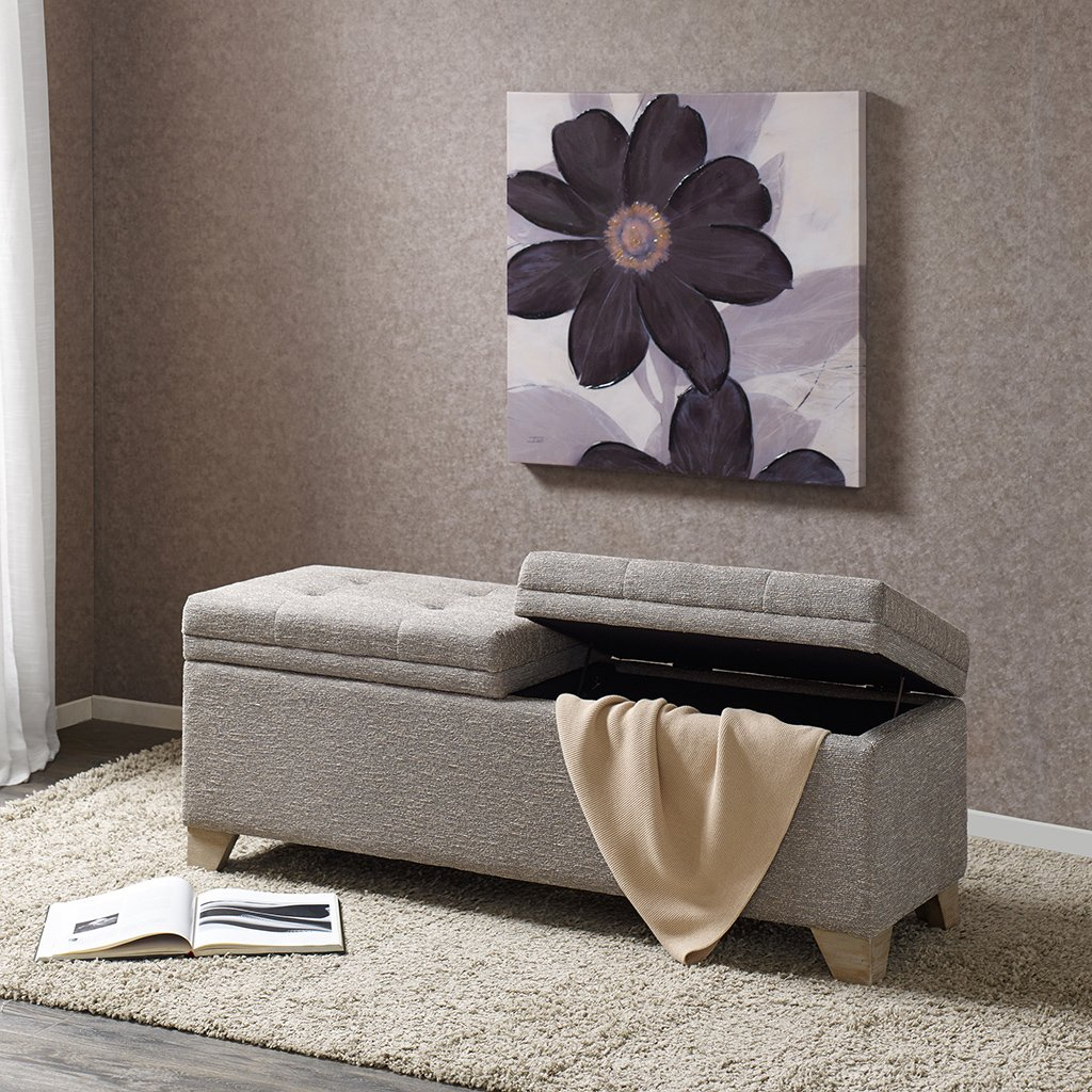 Madison Park Ashcroft Storage Ottoman – Solid Wood, Polyester Fabric Toy Storage Bench – Light Taupe, Modern Style Ottoman With Storage – 1 Piece Lift Top Storage Seat