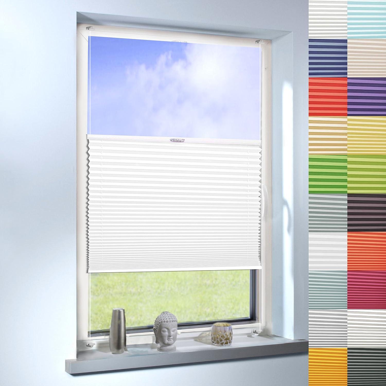 SUNWORLD Plissee nach Maß, Klemmfix ohne Bohren,hochqualitative Wertarbeit, 20 Farben verfügbar, für Fenster und Türen (Farbe  Weiß, Höhe  140cm x Breite  115cm)