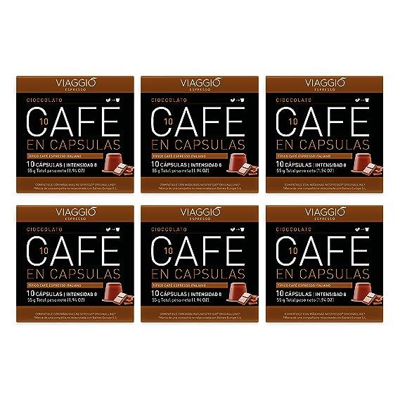 VIAGGIO ESPRESSO - 60 Cápsulas de Café Compatibles con Máquinas Nespresso. (CIOCCOLATO)