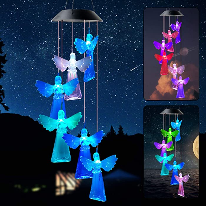 zhengshizuo Angel Wind Chimes Solar Powered Garden Night Light Xmax Ornaments Outdoor Decor Lights Solar Cherub Angel Garden