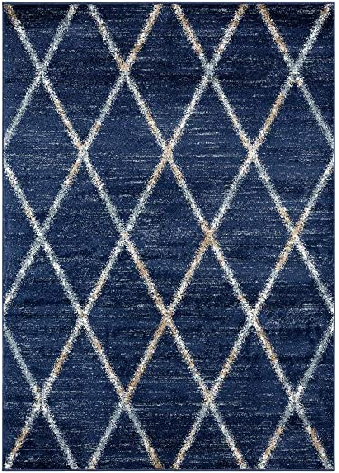 Luxe Weavers Hampstead Denim Trellis Abstract 8 x 10 Area Rug