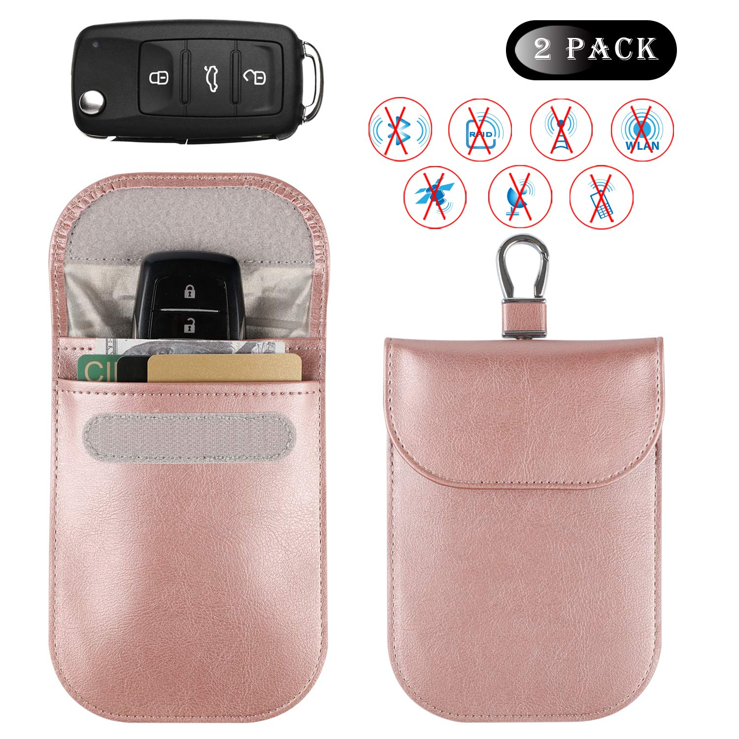 Car Key Signal Blocker Case, Car Key Fob Signal Blocking Bag, Faraday Bag RFID Key Fob Antitheft Lock Devices RFID/WiFi/GSM/LTE/NFC Protector(1Black and 1 Rose Gold) Teskyer