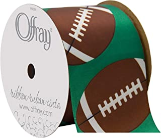 product image for Offray Single Face Satin Sports Ball Craft Ribbon, 2 1/4-Inch x 9-Feet, Football