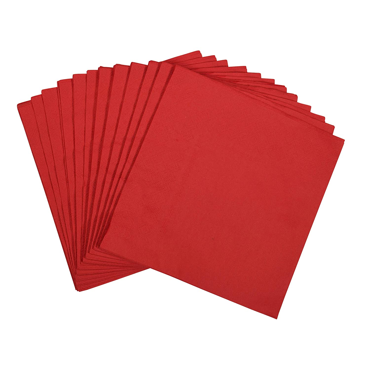 "100 Large Red Paper Napkins | 2-Ply Lunch Size Disposable Napkins | Perfect Pop of Color for Parties, Weddings, Dinners, Luncheons by Dessie (13"" x13"" )"