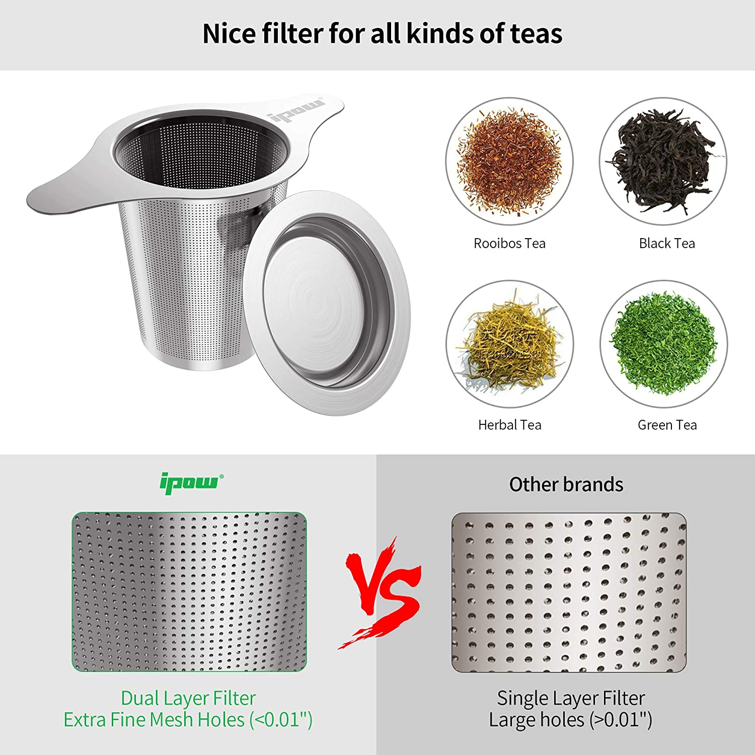 Ipow 18//8 Stainless Steel Tea Infuser Strainer with Lid and Two Handles for Mugs Teapots Double-Layer Fine Filter Cups,Coffee