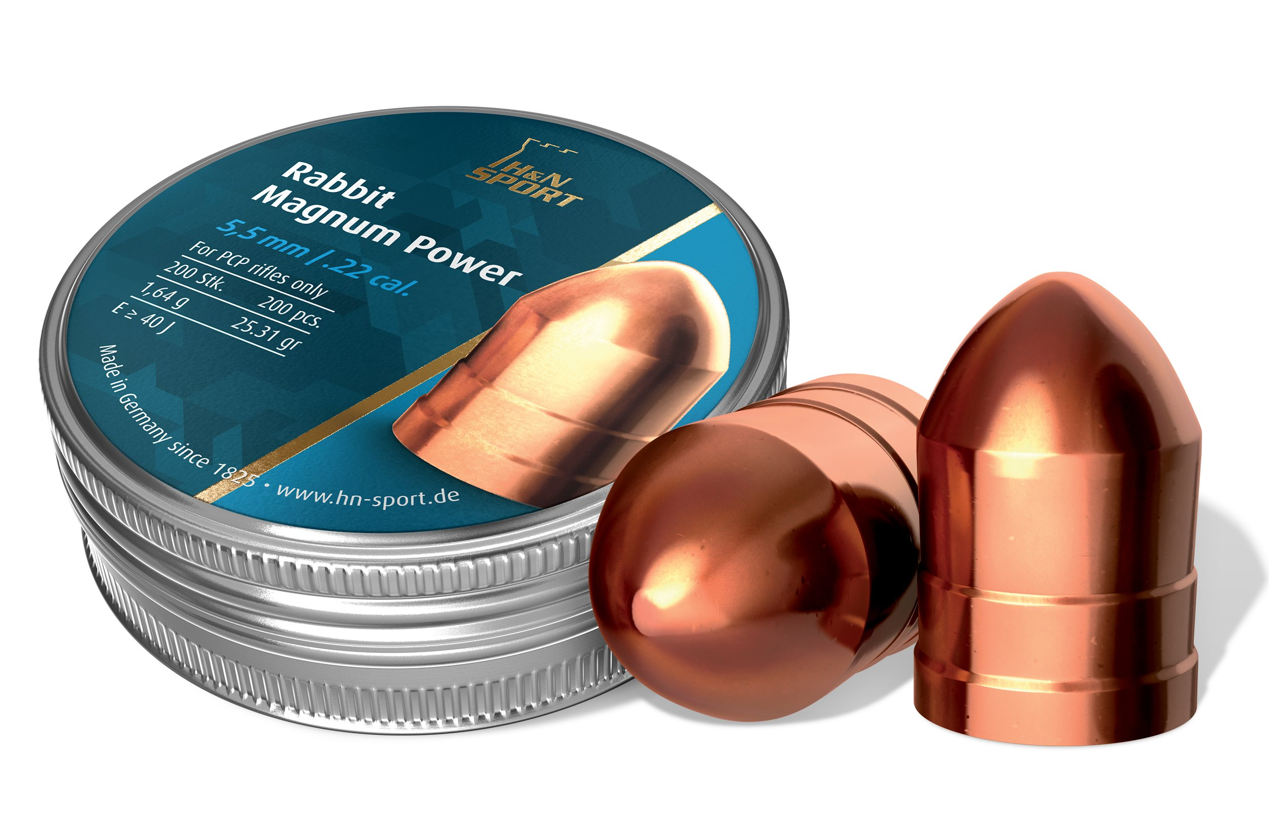 Haendler & Natermann H&N Rabbit Magnum Power Rounded Cylindrical Airgun Pellets .22 Caliber / 25.77 Grains (200 Count)