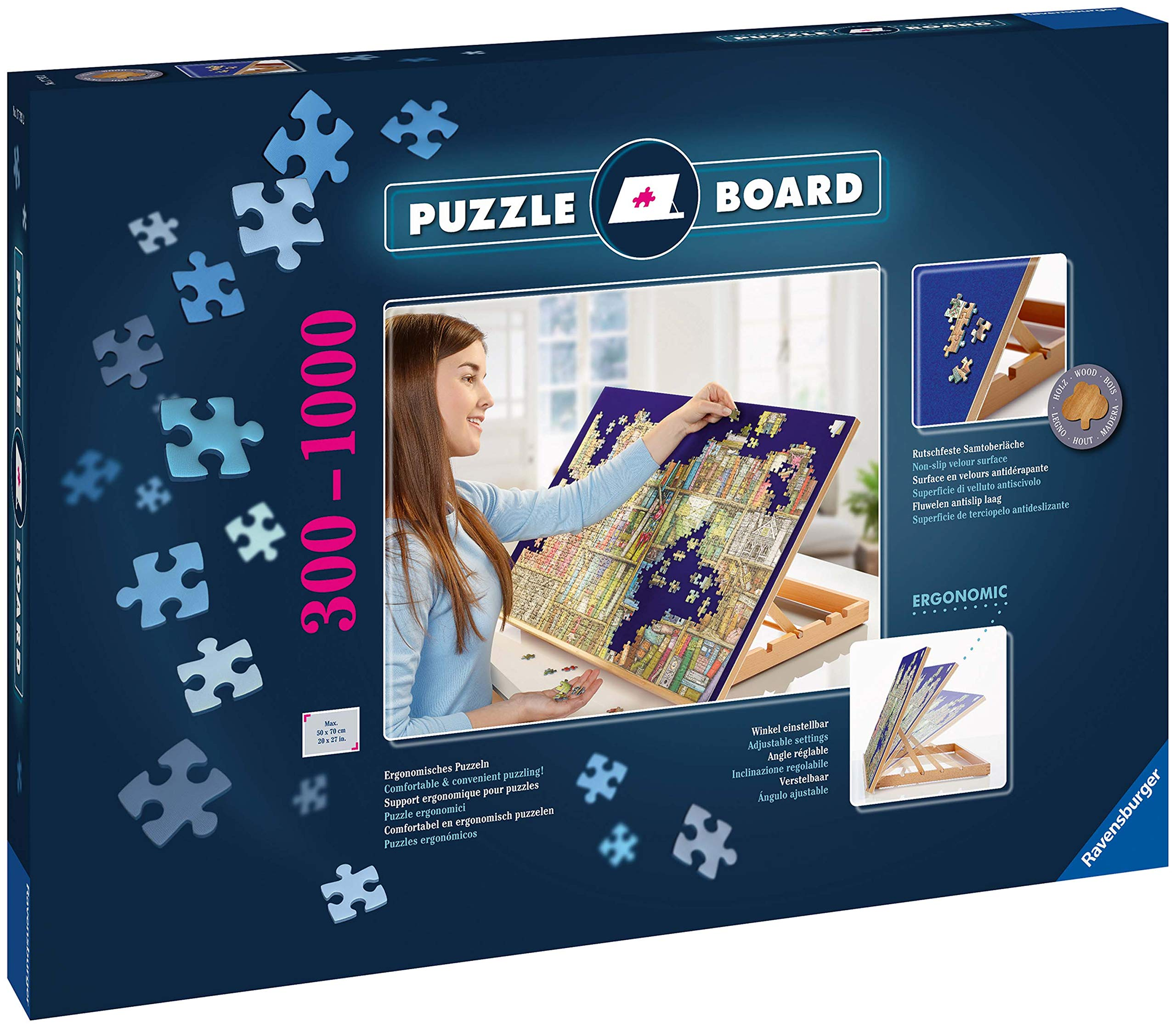 Ravensburger 17973 Tabletop Fold Flat Wooden Puzzle Easel - Non-Slip, Felt Work Surface Puzzle Table Accessory - for Jigsaw Puzzles in Landscape Format up to 1000 Pieces by Ravensburger