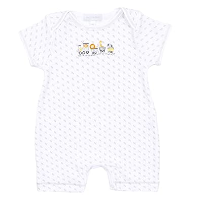 Magnolia Baby Unisex Baby Animal Train Embroidered Short Playsuit Silver