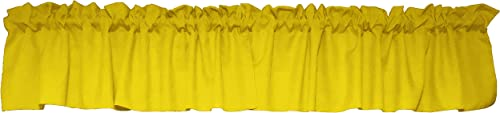 lovemyfabric 100 Polyester Poplin Solid Kitchen Curtain Tier Valance Window Treatment 58 X32 , Yellow