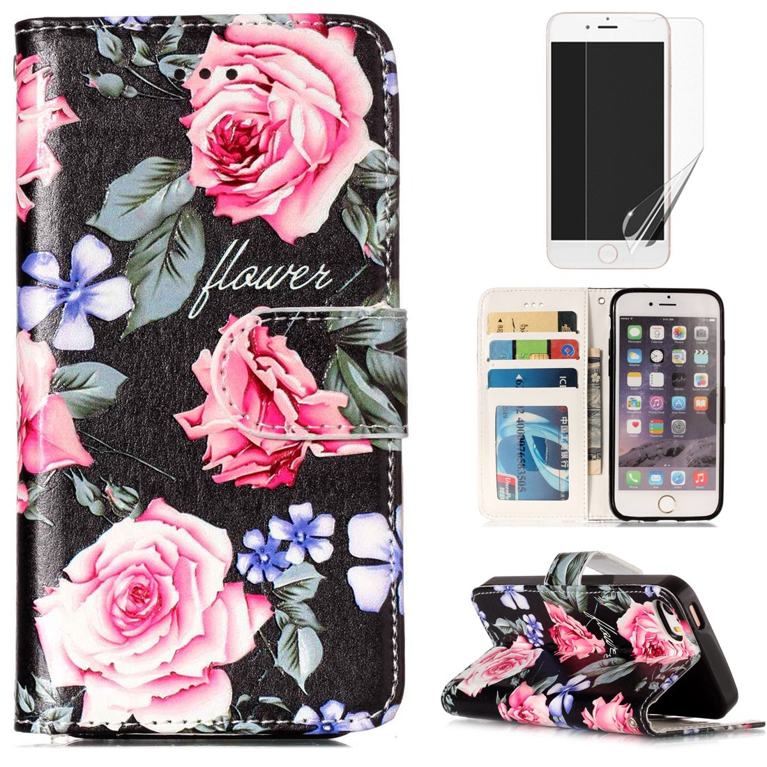 For iphone 5/5S iphone SE Case and Card Holder,OYIME [Colorful Painting Pattern] Relief Design Bookstyle Leather Wallet Holster with Wrist Lanyard Kickstand Function Full Body Protection Bumper Magnetic Closure Flip Cover with Screen Protector - Purple Lot