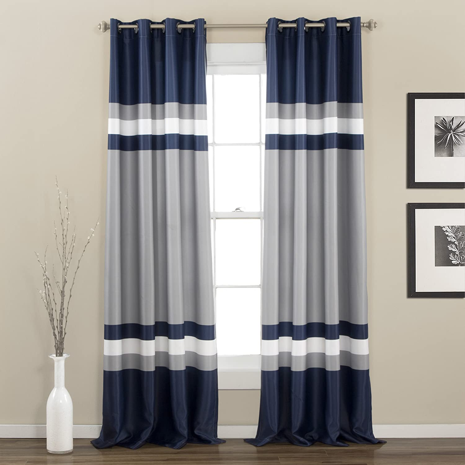 Lush Decor Alexander Curtain Panel, 84 x 52, Navy