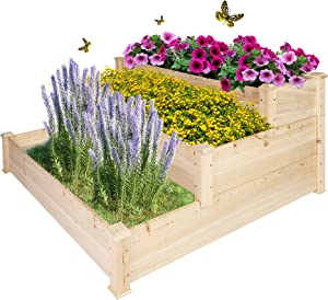LONABR 3 Tier Raised Garden Bed Elevated Planter Wooden Box Outdoor Patio for Vegetables Herb Flower,Natural