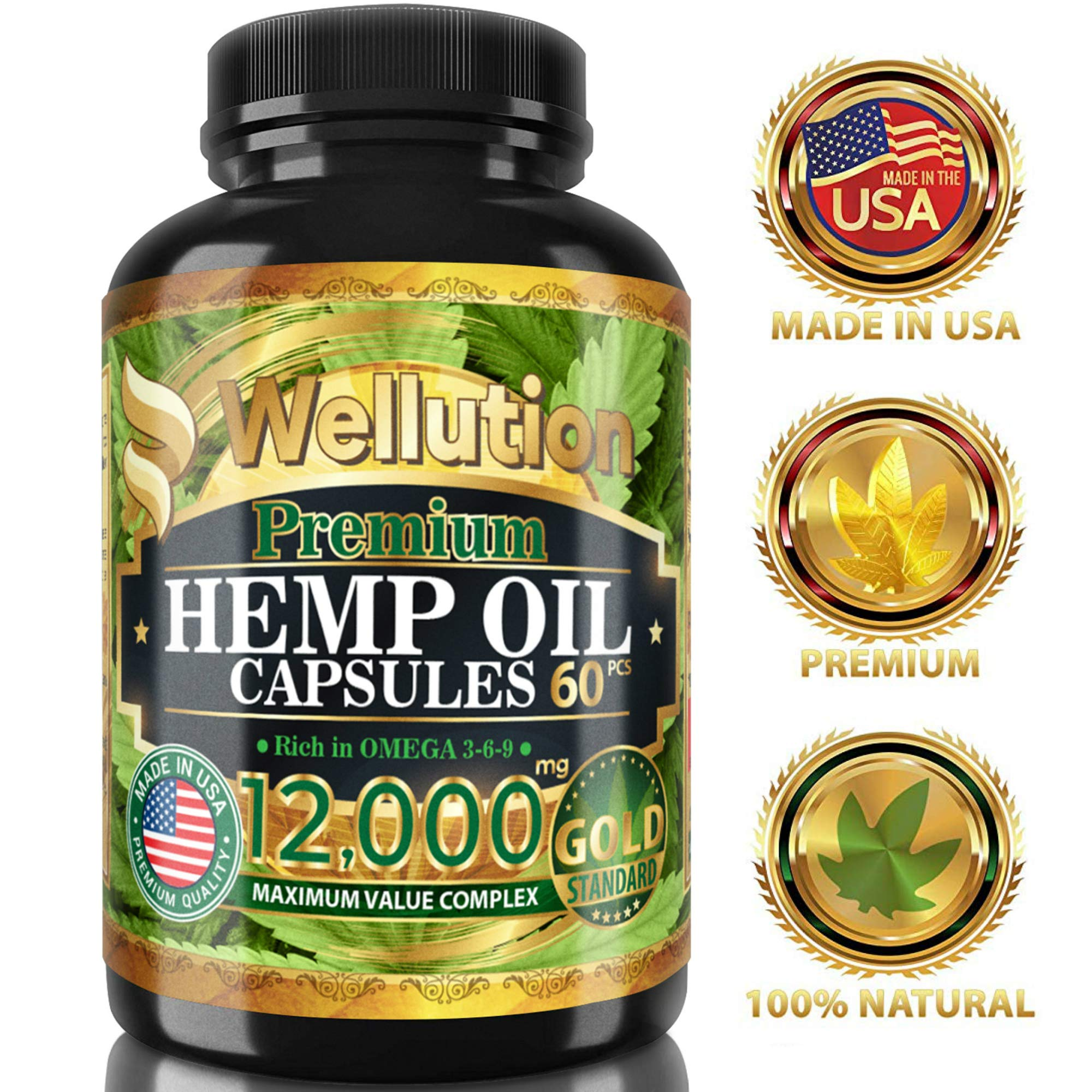 Hemp Oil Extract Capsules 12000 MG - Ashawagandha and Melatonin Supplement - Anxiety, Stress, Joint, Lower Knee, Neck Pain Relief - Sleeping and Mood Support Pills - Made in The USA, 60 Capsule Pack by WELLUTION