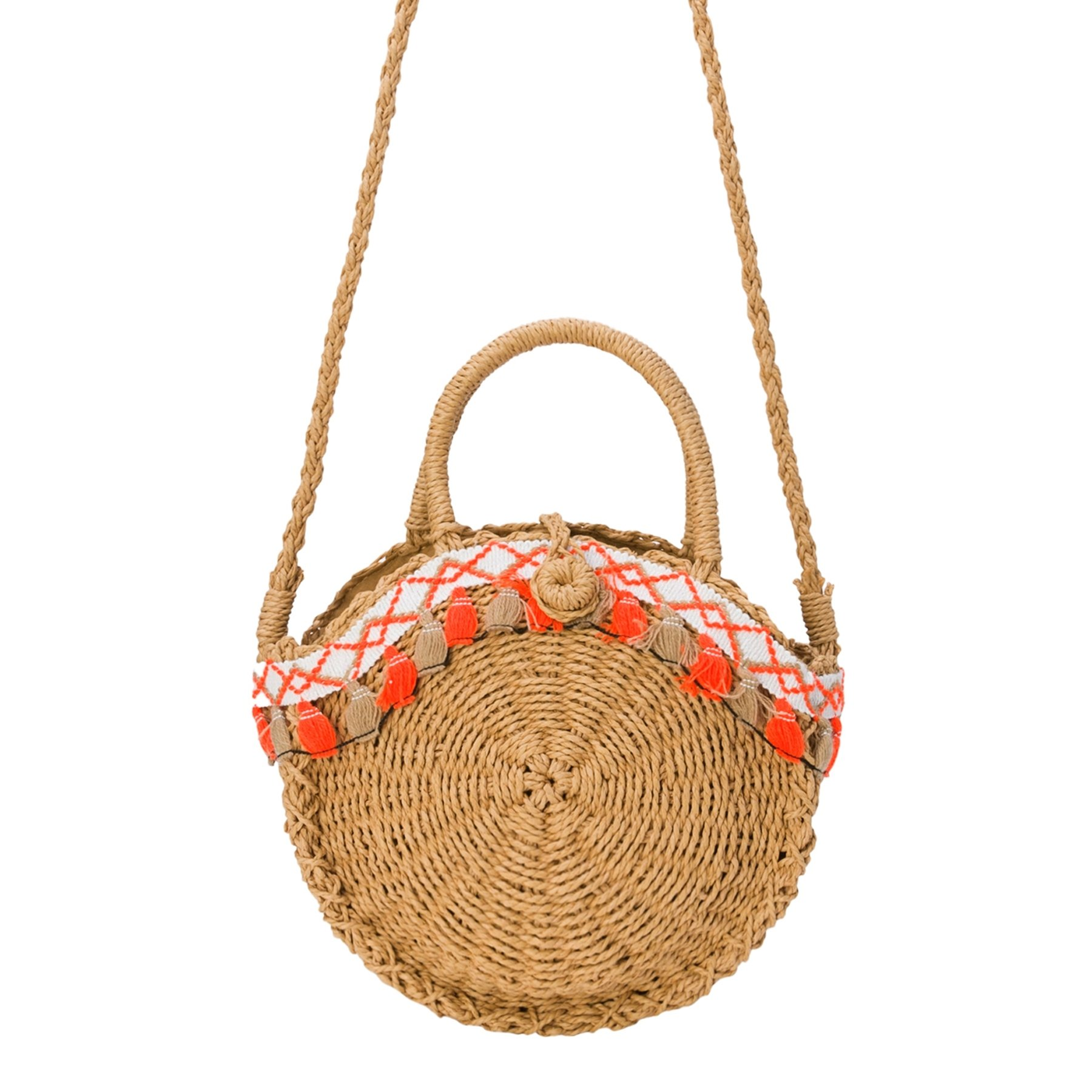 Oriental Day Boho Handwoven Round Crossbody with Chic Natural Straw Summer Purse Bag with Coachella Theme 28 X 8 X 32(L X W X H including holder) cm. Brown