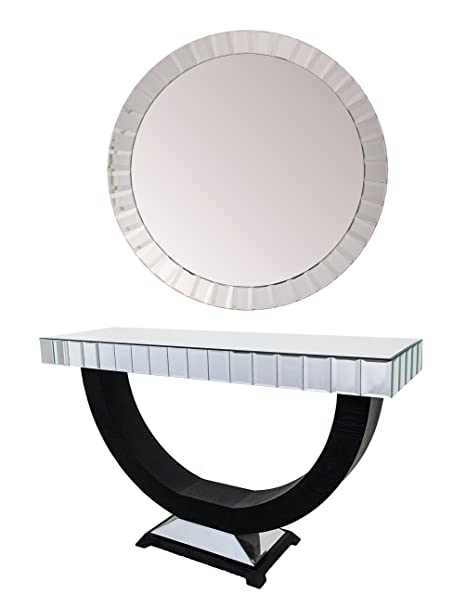 Chemy Mirrored Hallway Entry Foyer Console Table And Round Mirror Set