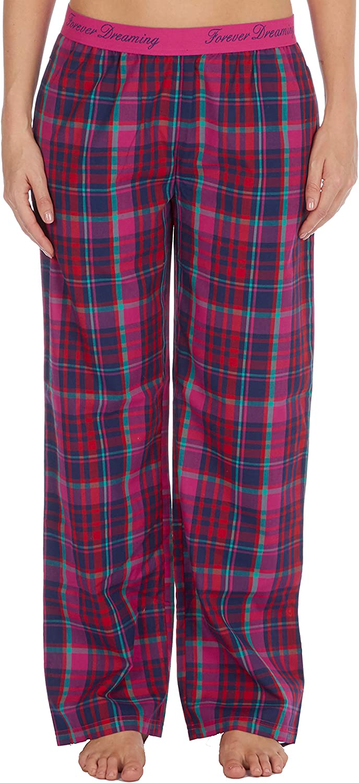 Metzuyan Womens Ladies Pyjama PJs Woven Bottoms Pants Checked Tratan with Pockets Cotton Rich Elastic Waistband S-XL UK