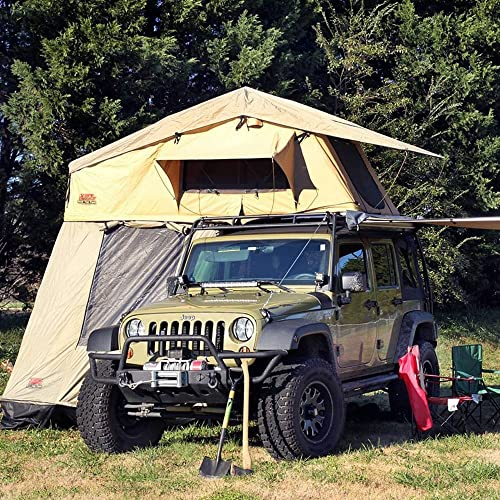 Tuff Stuff Overland Rooftop Camping Tent with Annex Room and Black Driving Cover