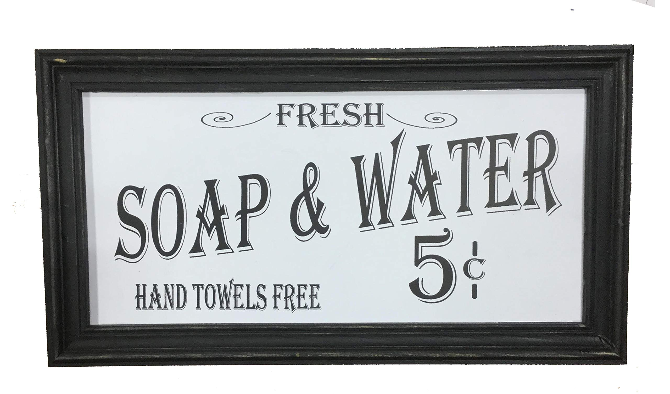 Ohio Wholesale Vintage Soap & Water Bath Sign Distressed Wood Old-Fashioned Script Country Decor, White