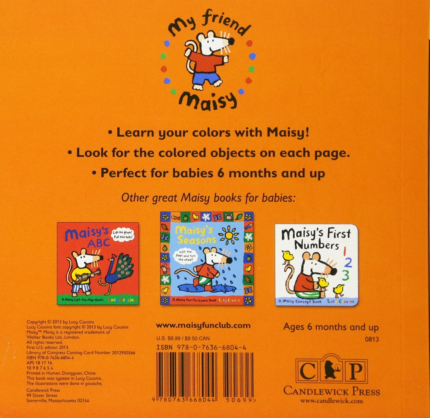Amazon.com: Maisy's First Colors: A Maisy Concept Book (9780763668044):  Lucy Cousins: Books