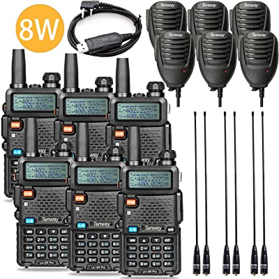 Tenway UV-5R Pro 8Watt Dual Band Two Way Radio with Ham Radio and Handheld Speaker Mic and NA-771 Antenna 6Pack and One USB Programming Cable: Car Electronics