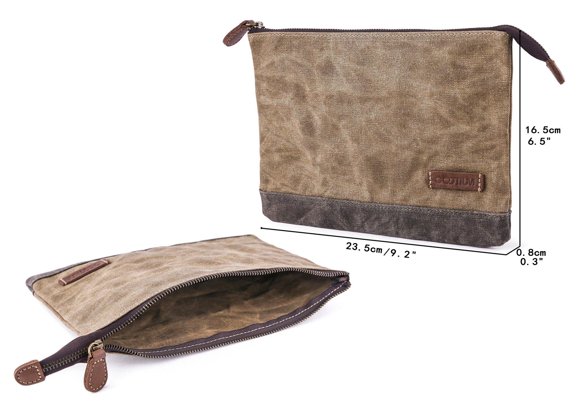 Gootium Waxed Canvas Zipper Pouch - Water Resistant Storage Holder Accessories Organizer (Pack of 2) by Gootium (Image #2)