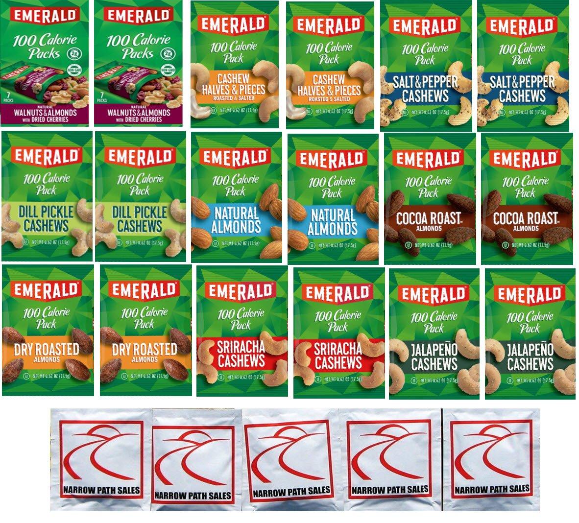 Emerald Nuts 100 Calorie Packs Variety Sampler Pack of 18 bags, 9 Flavors