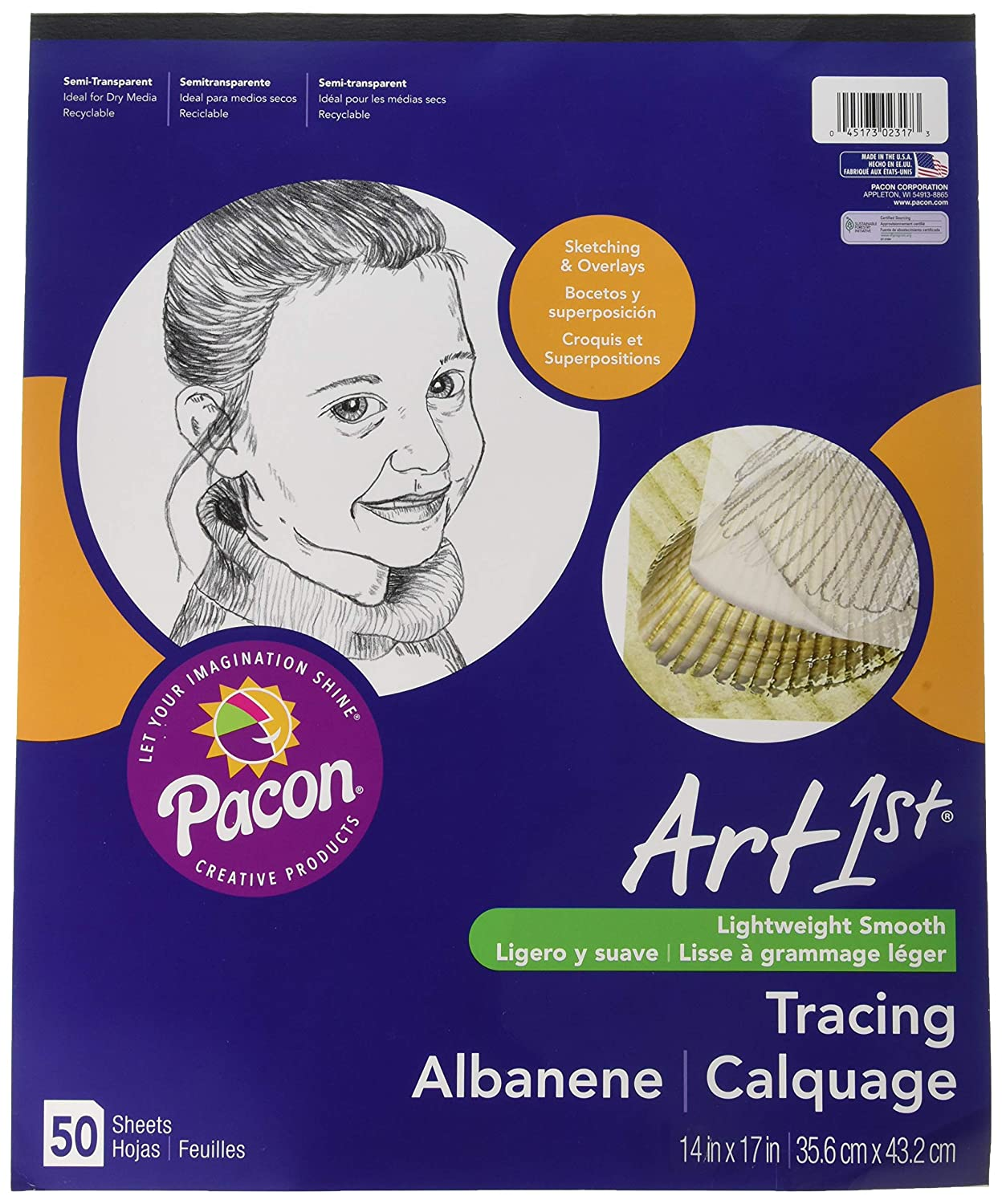 Pacon Artist Parchment Tracing Paper, 14 x 17 Inches, White, 50 Sheets (PAC2317) Pacon Corp.