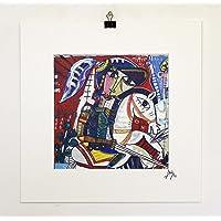 quadro moderno con cavalire su cavallo bianco in battaglia arredamento casa quadri figurativi