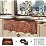 Luxury HEAVY-GAUGE (12-Gauge) 33-Inch Modern Copper Farmhouse Sink (48 LBS Pure Copper), Apron Front, Single Bowl, Antique Co