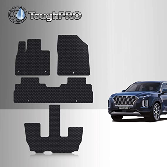 TOUGHPRO Floor Mat Accessories Set + 3rd Row Compatible with Kia Telluride - All Weather - Heavy Duty - Black Rubber - 2020