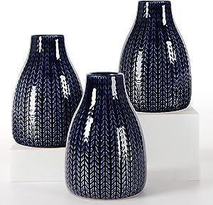 Flower Vase Set of 3, Decorative Ceramic Vase, Vase for Decor Home Living Room Office Parties Wedding, 3.7
