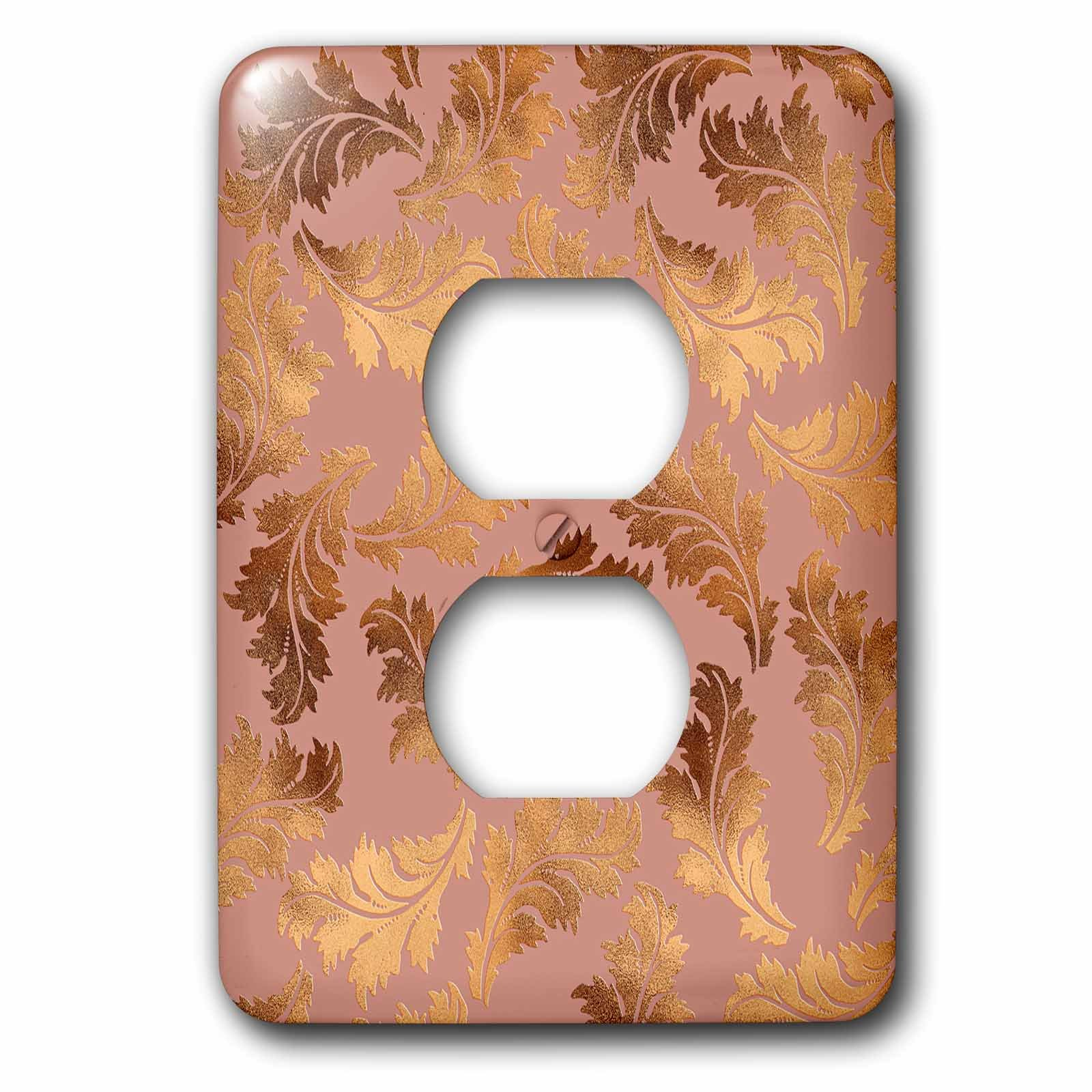 3dRose Uta Naumann Faux Glitter Pattern - Luxury Shiny Elegant Rose Gold Floral Foliage Copper Damask Pattern - Light Switch Covers - 2 plug outlet cover (lsp_272878_6)