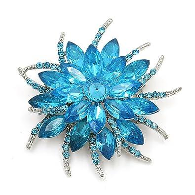 8849de9de Feroni Beautiful Assorted Colors Crystal Daisy Flower Fashion Brooch ...