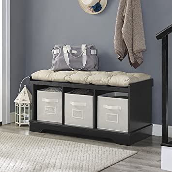 New 42 Inch Wide Storage Bench With Totes And Cushion In Black Finish