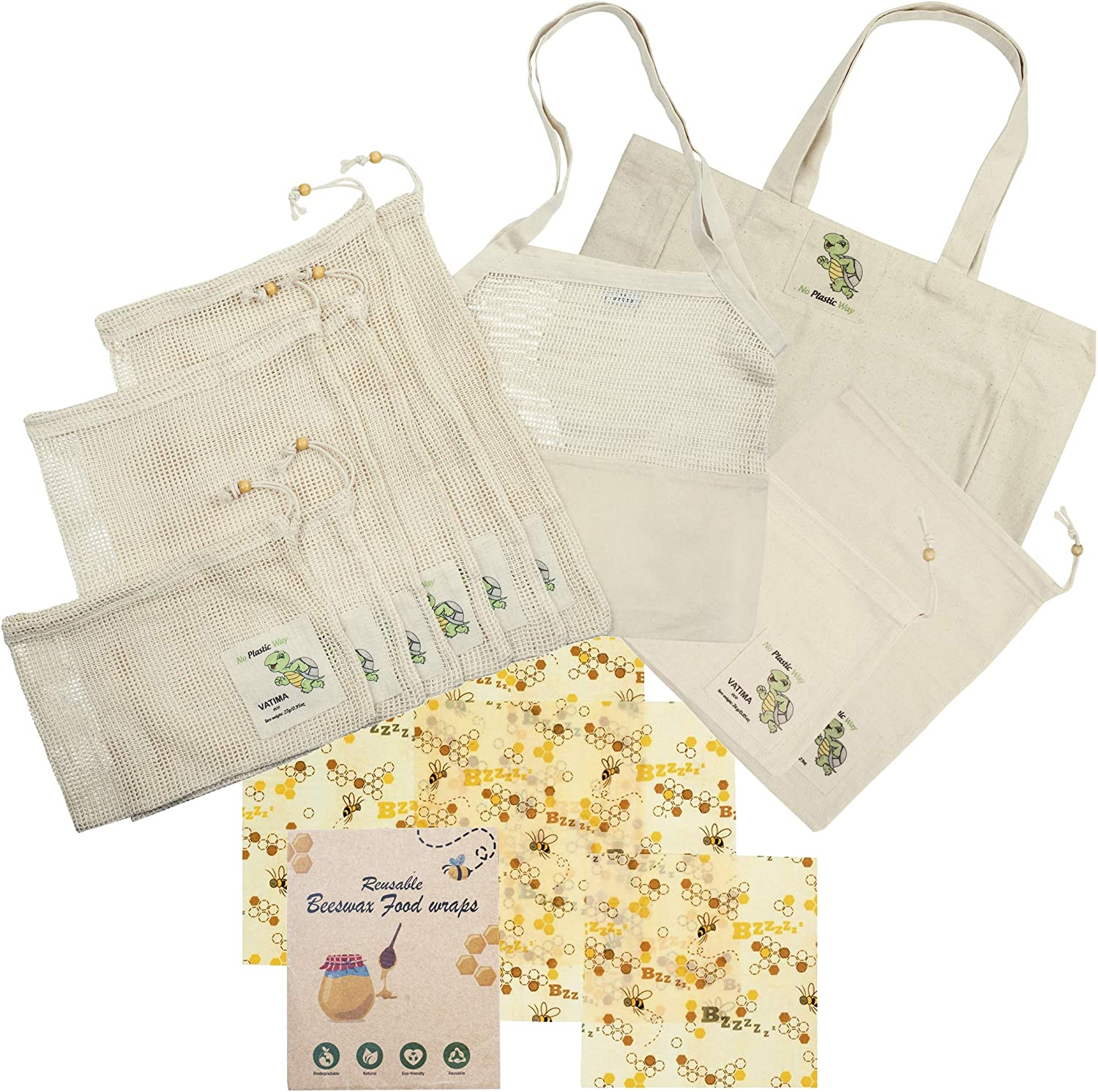 Cotton Produce Bag Reusable + Beeswax Food Wraps 13 Pack | Eco-Friendly Unbleached Washable Durable See-Through Mesh Bags + Bonus Grocery Tote Bag & French Market Bag Superior Quality Double Stitched