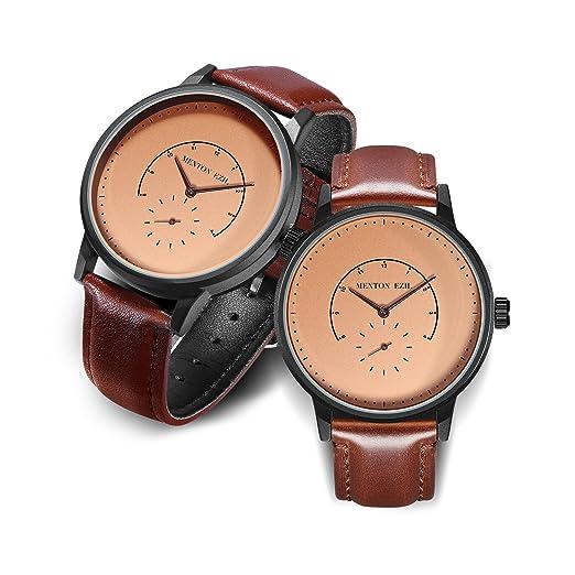 Menton Ezil Relojes Clásicos de Pareja Cuarzo Analógico 30M Resistente al Agua con Correa de Cuero Marrón - Conjunto de 2: Amazon.es: Relojes
