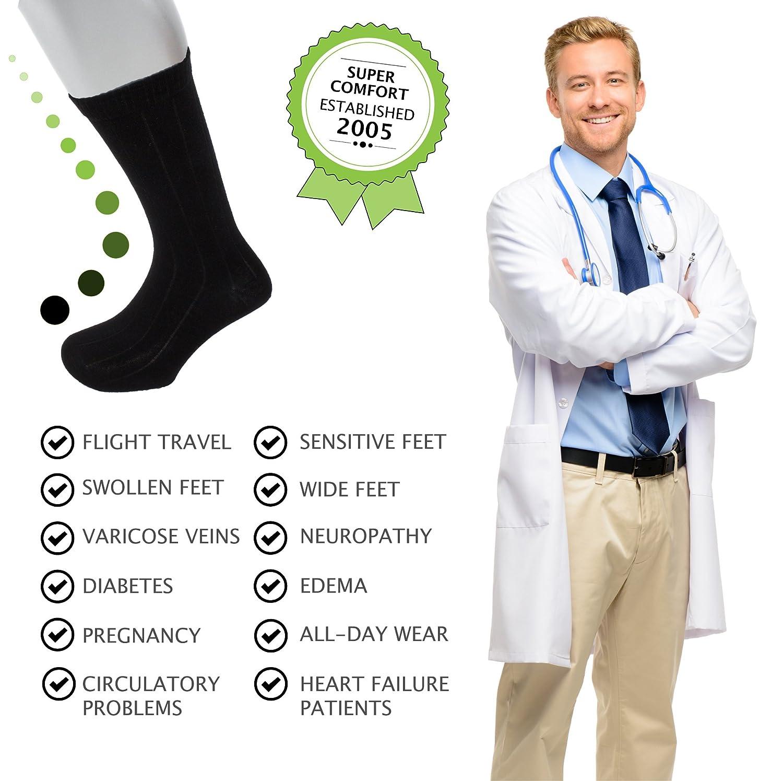 Sock Size 13-16 |Improve Foot Health Comfort Circulation for B/&T Diabetes,Edema,Flight Travel,Swollen Feet Sugar Free Sox 54501 Diabetic Socks Big and Tall Mens Black Mid-Calf 3 Pack Seamless Toe |Non-Binding Top