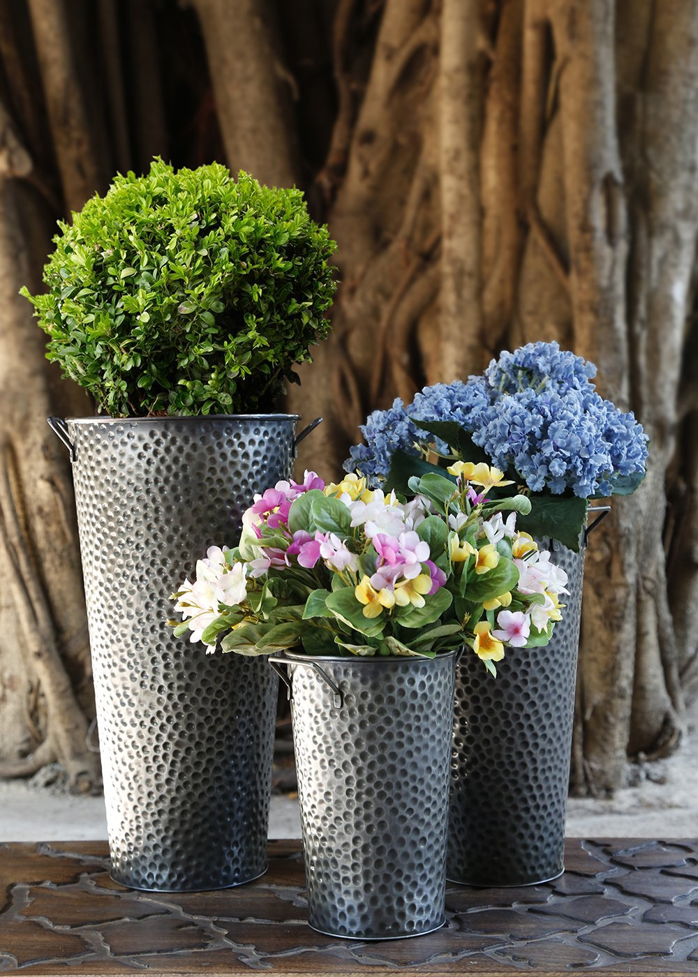 Mothers Day Gift Round Metal Vase Planter French Bucket Set of 3 Indoor Outdoor Flower Pot Tree Holder Storage Basket Bin Containers Rack For Gardening Decor Accessories