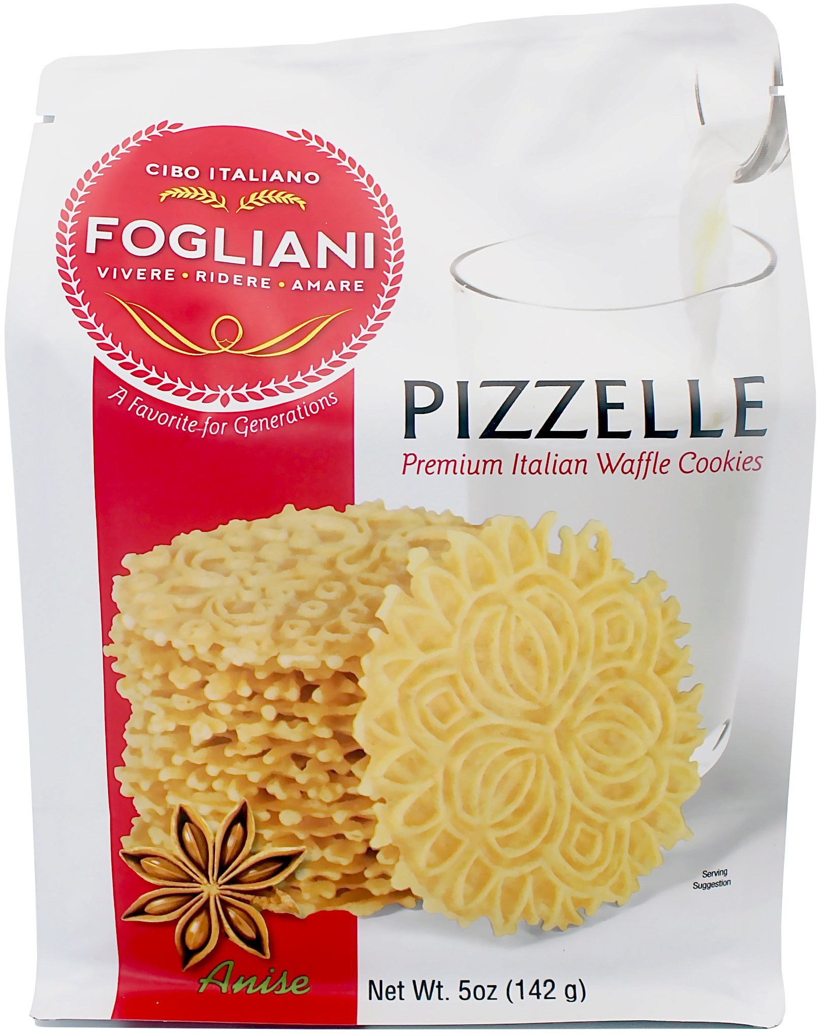 Fogliani Anise Pizzelle Waffle Cookies (Pack of 1) by Fogliani
